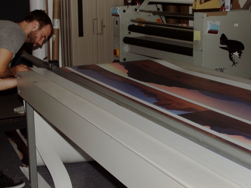Bill trimming the prints, a little bit stressful as you only get one shot, no redo's