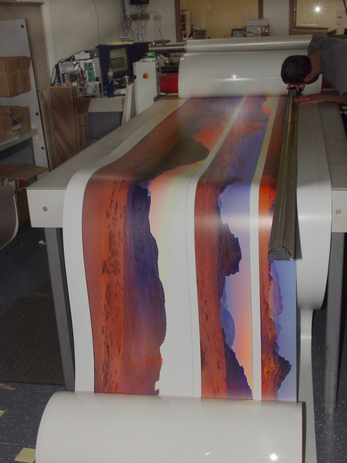 "Hamilton Color Lab, laminating a 243"" panoramic print"