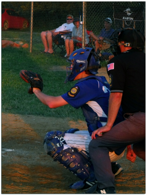 David playing American Legion baseball. Short on catchers so he filled in for a few innings