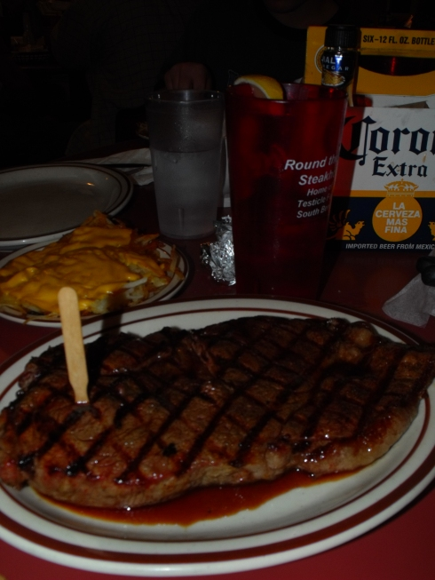 Medium rare steak at Round the Bend