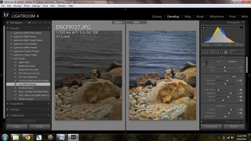 Lightroom 4 screen shot of a before and after photo processing