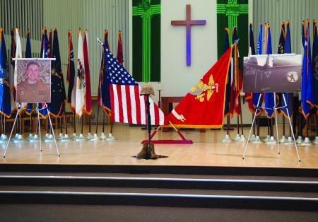 Ceremony for a Marine killed in Afghanistan